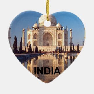 La India el Taj Mahal Angie Adorno Navideño De Cerámica En Forma De Corazón