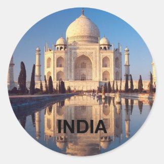 La India el Taj Mahal Angie Pegatina Redonda