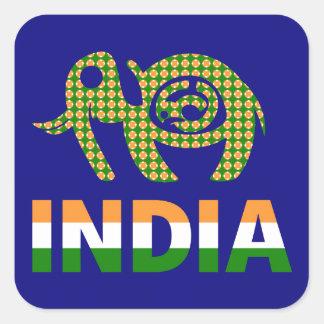 La India, elefante pintado Pegatina Cuadrada