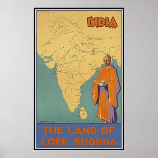 La India la tierra de señor Buda Poster