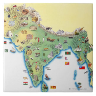 La India, mapa con mostrar de los ejemplos Azulejo Cuadrado Grande