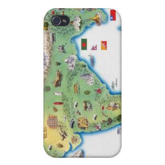 La India, mapa con mostrar de los ejemplos iPhone 4/4S Funda