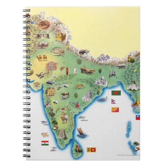 La India, mapa con mostrar de los ejemplos Libretas