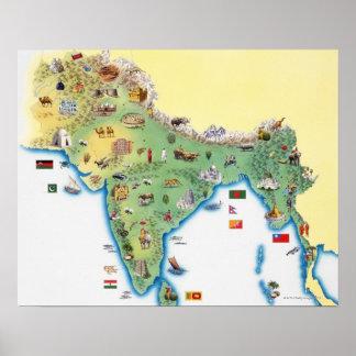 La India, mapa con mostrar de los ejemplos Póster