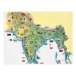 La India, mapa con mostrar de los ejemplos Postales