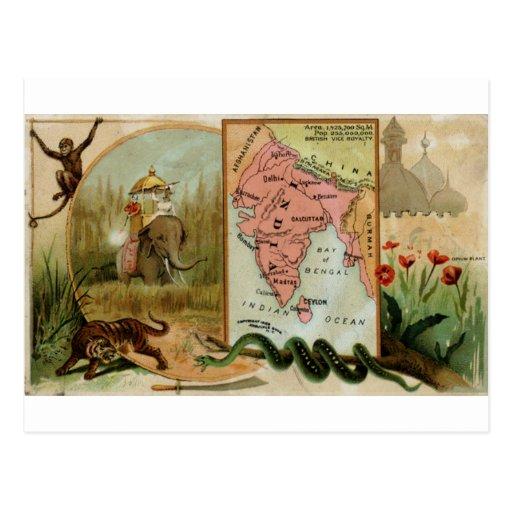 La India, tarjeta 1889 del vintage Postales