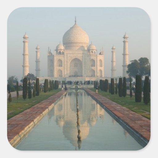 La INDIA, Uttar Pradesh, Agra: El Taj Mahal, Pegatina Cuadrada