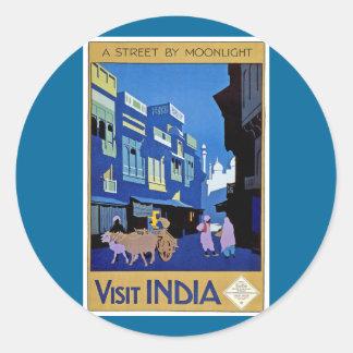 La India - viaje del vintage - visita la India Pegatina Redonda
