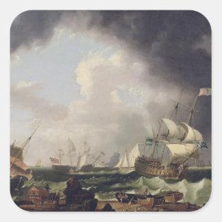 La industria pesquera, c.1764 (aceite en lona) pegatina cuadrada