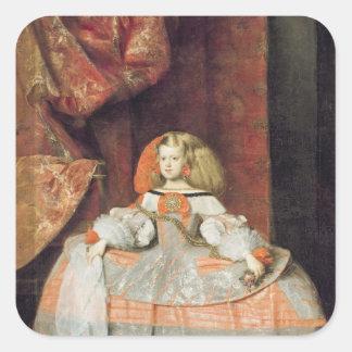 La infanta Maria Marguerita en rosa Calcomanía Cuadradas Personalizadas