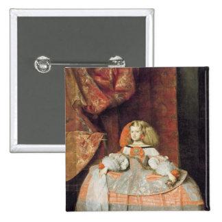 La infanta Maria Marguerita en rosa Pin Cuadrada 5 Cm