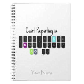 La información de la corte es teclado fresco de spiral notebooks