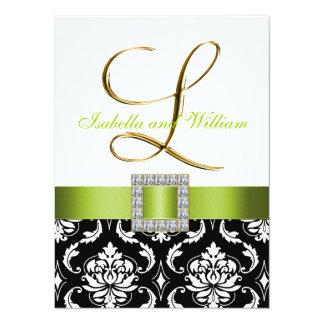 """La inicial blanca negra verde L boda del damasco Invitación 5.5"""" X 7.5"""""""
