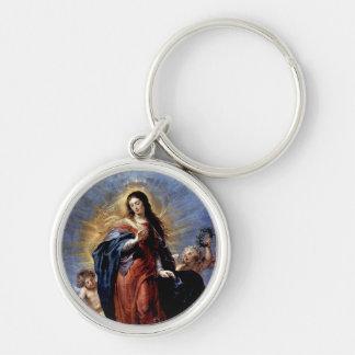 La Inmaculada Concepción Llavero Redondo Plateado