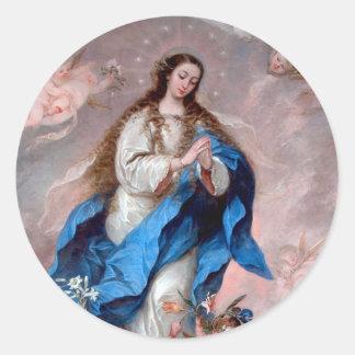 La Inmaculada Concepción Pegatina Redonda