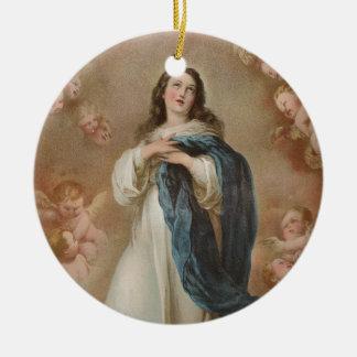 La Inmaculada Concepción por litográfico americano Adorno Navideño Redondo De Cerámica