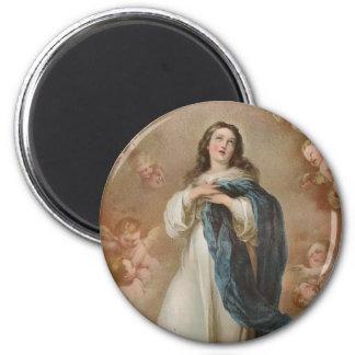 La Inmaculada Concepción por litográfico americano Imán Redondo 5 Cm