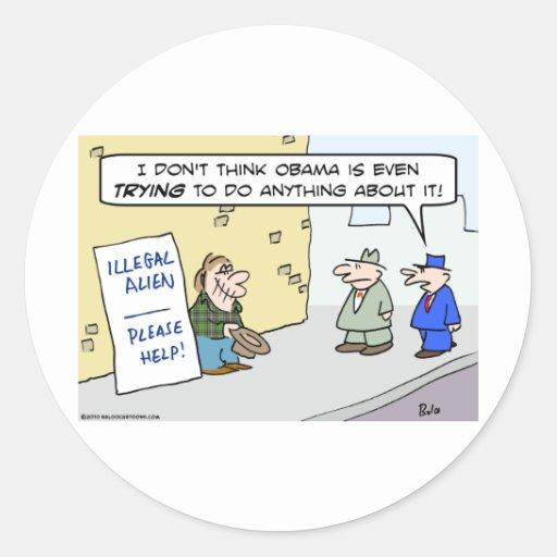 la inmigración del inmigrante ilegal ayuda por pegatina redonda