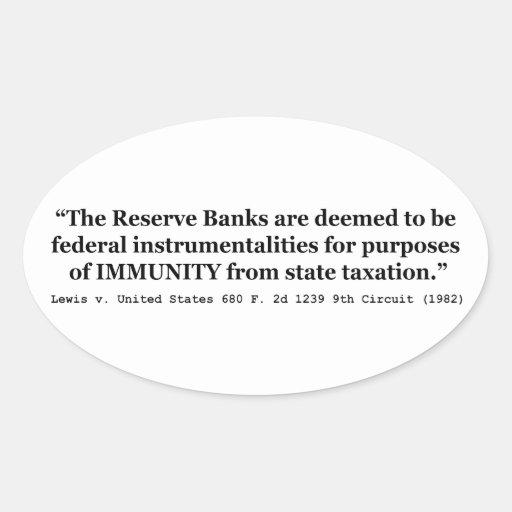 La inmunidad de Federal Reserve deposita a Lewis v Pegatina De Óval