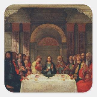 La institución de la eucaristía, c.1490 pegatina cuadrada