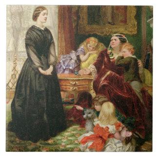 La institutriz, 1860 (aceite en lona) azulejo