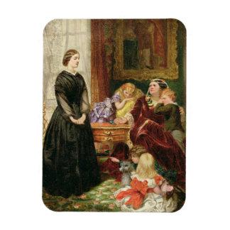 La institutriz, 1860 (aceite en lona) imán de vinilo