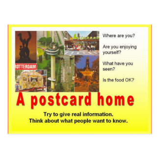 La instrucción, escritura del viaje, escribe un ho postales