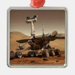 La interpretación del artista de Marte Rover Adorno Navideño Cuadrado De Metal