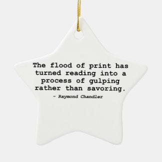 La inundación de la impresión (Raymond Chandler) Adorno Navideño De Cerámica En Forma De Estrella