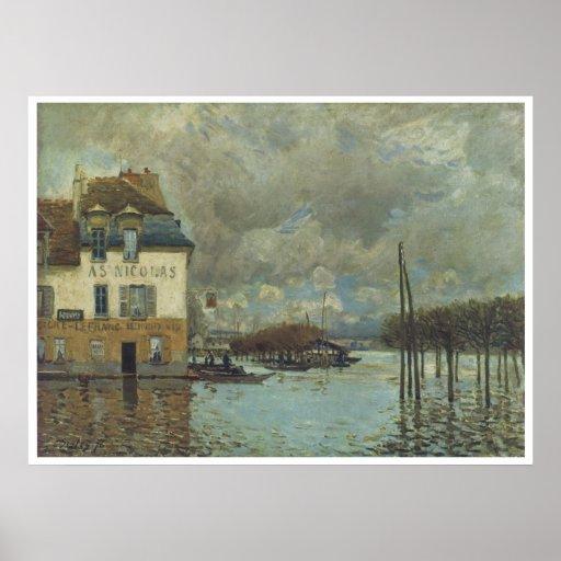 La inundación en Puerto-Margoso, Alfred Sisley 187 Póster