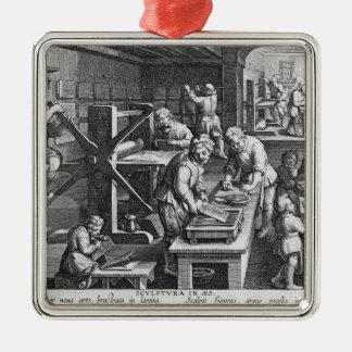 La invención del grabado de cobre adorno navideño cuadrado de metal