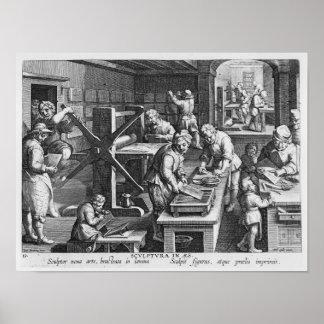 La invención del grabado de cobre posters