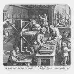 La invención del grabado de cobre pegatina cuadrada