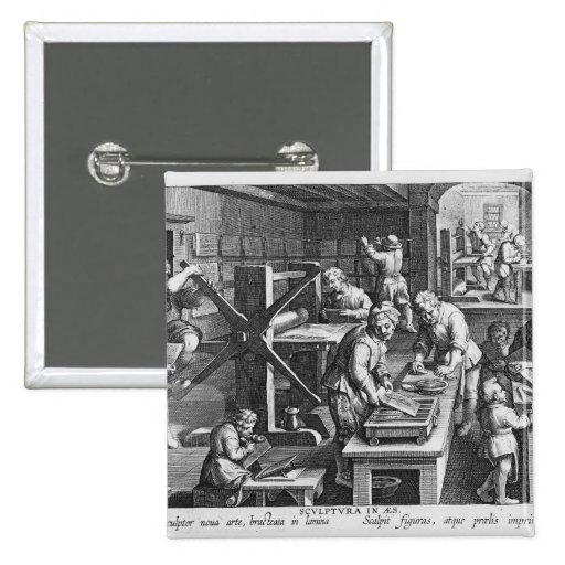 La invención del grabado de cobre pin cuadrado