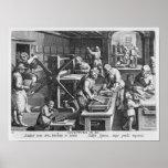 La invención del grabado de cobre póster