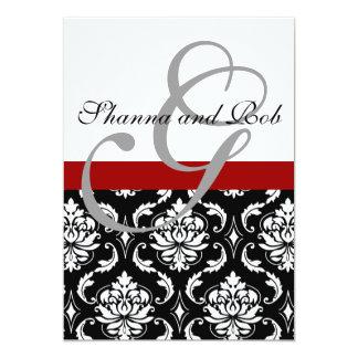 La invitación 5 x 7 del boda del damasco del invitación 12,7 x 17,8 cm