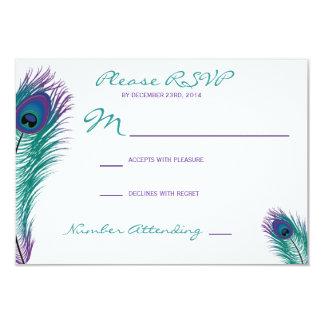 La invitación con clase de RSVP del pavo real