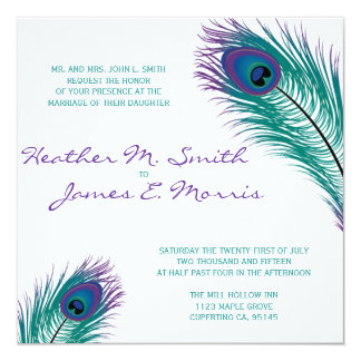 La invitación con clase del boda del pavo real