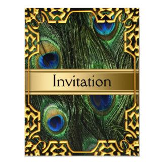 La invitación cualquiera del pavo real del oro va