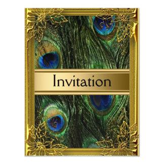 La invitación cualquiera del pavo real y del oro