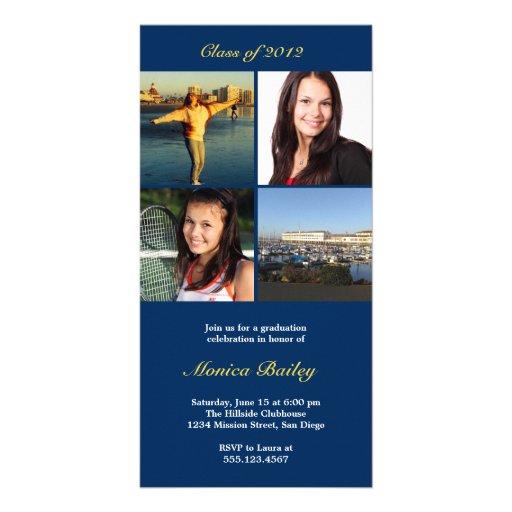La invitación de la graduación del bloque ilustrac plantilla para tarjeta de foto