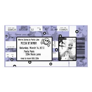 La invitación del boleto de la estrella del rock o tarjeta fotográfica