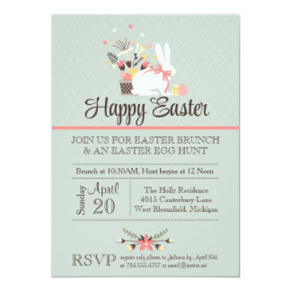 La invitación del brunch de Pascua, caza del huevo