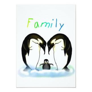 La invitación del chica de la familia del pingüino invitación 12,7 x 17,8 cm