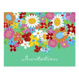 La invitación del flower power de la primavera/le tarjetas postales