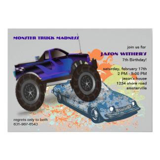 La invitación del monster truck de la trituradora