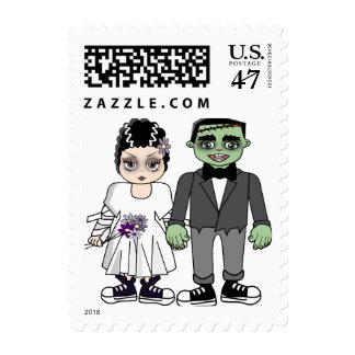 La invitación divertida y linda del boda, ahorra sello postal