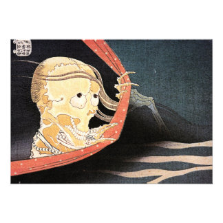 La invitación esquelética extraña de Hokusai