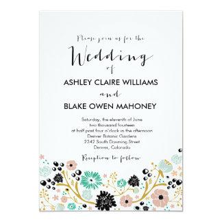 La invitación floral del boda del ramo bonito se