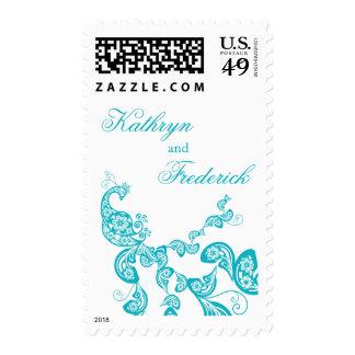 La invitación floral del pavo real de la turquesa sellos